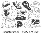 set of hand drawn meat doodle  | Shutterstock .eps vector #1927475759