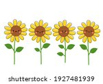 sunflower with cute face icons... | Shutterstock .eps vector #1927481939
