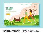 man and woman running in the... | Shutterstock .eps vector #1927508669