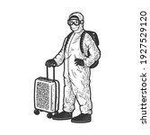 tourist in protective medical... | Shutterstock .eps vector #1927529120