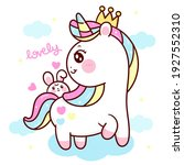 cute unicorn vector princess... | Shutterstock .eps vector #1927552310