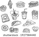 hand drawn fast food vector ... | Shutterstock .eps vector #1927584440