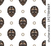 seamless pattern with tiki mask ... | Shutterstock .eps vector #1927584869