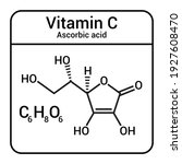 chemical structure of vitamin c.... | Shutterstock .eps vector #1927608470