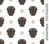 seamless pattern with tiki mask ... | Shutterstock .eps vector #1927616330