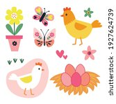 sets of cute chicken and... | Shutterstock .eps vector #1927624739