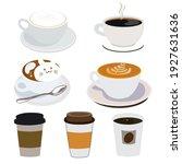 coffee set vector design flat... | Shutterstock .eps vector #1927631636