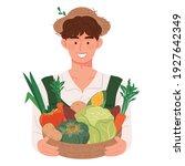 a young farmer holding a basket ... | Shutterstock .eps vector #1927642349