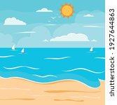 Cartoon Summer Beach  Seaside...