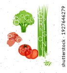 set of color vegetables with... | Shutterstock .eps vector #1927646279