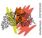 black girl. hand draw outline... | Shutterstock .eps vector #1927653143