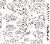 seamless pattern of meat... | Shutterstock .eps vector #1927717646