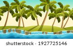 palms  border old gray rock and ...   Shutterstock .eps vector #1927725146