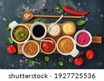 Set Of Sauces In Bowls  ...
