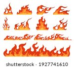 fire flame. cartoon bonfire and ... | Shutterstock .eps vector #1927741610