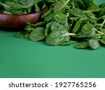 Fresh Baby Spinach Leaves On A...