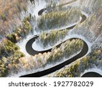 Winding Road Aerial View By...