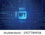 nft non fungible token on blue... | Shutterstock .eps vector #1927784936