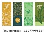 template vegan banner set. hand ... | Shutterstock .eps vector #1927799513