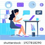 employee is sitting at the... | Shutterstock .eps vector #1927818290