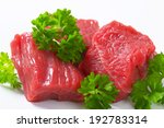 Detail Of Raw Beef Chunks With...