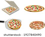 assorted pizzas with transport... | Shutterstock .eps vector #1927840490