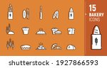vector icons of bakery products ... | Shutterstock .eps vector #1927866593