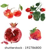 watercolor vector fruit set | Shutterstock .eps vector #192786800