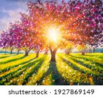 Sunny Spring Painting Landscape....