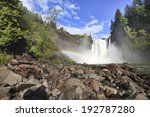 Spectacular view of  Snoqualmie waterfall and rainbow - stock photo
