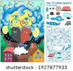 puzzle hidden items for kids.... | Shutterstock .eps vector #1927877933