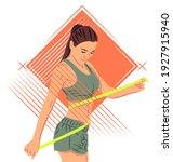 vector sportswoman in shadow of ...   Shutterstock .eps vector #1927915940