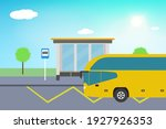 modern bus on the bus stop.... | Shutterstock .eps vector #1927926353