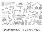 sewing tools black line set ... | Shutterstock .eps vector #1927937423
