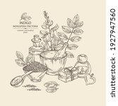 background with indigofera... | Shutterstock .eps vector #1927947560