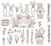 easter set of hand drawn vector ... | Shutterstock .eps vector #1927949480