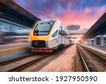 High Speed Train In Motion On...