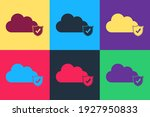 pop art cloud and shield with... | Shutterstock .eps vector #1927950833