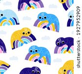 funny lazy sloth and rainbow... | Shutterstock .eps vector #1927952909