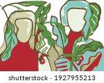 couple in love in garden vector | Shutterstock .eps vector #1927955213