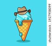 cowboy ice cream cartoon vector ... | Shutterstock .eps vector #1927958099