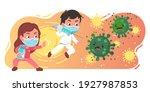 doctor girl  boy kids vaccine... | Shutterstock .eps vector #1927987853