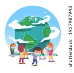 earth globe supported by boys ...   Shutterstock .eps vector #1927987943