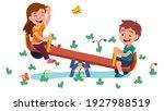 happy girl and boy kids... | Shutterstock .eps vector #1927988519