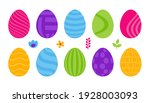 set of 10 color easter eggs... | Shutterstock .eps vector #1928003093
