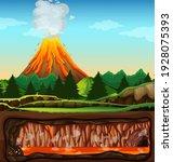 volcanic eruption outdoor scene ... | Shutterstock .eps vector #1928075393
