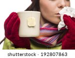 Young Sick Woman With Tissue...