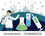doctor point to covid 19... | Shutterstock .eps vector #1928080523