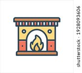 colorful fireplace  icon.... | Shutterstock .eps vector #1928093606
