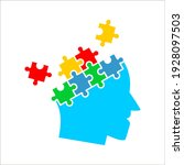 colorful simple head puzzle... | Shutterstock .eps vector #1928097503